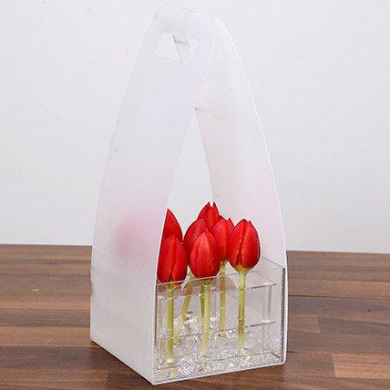 Blissful Red Tulip Arrangement
