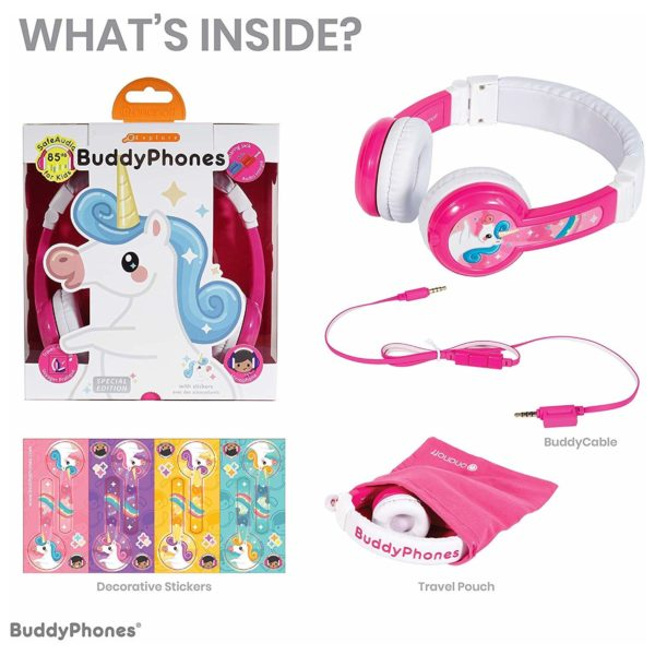 Buddyphones Explore Foldable On Ear Headset With Mic Pink