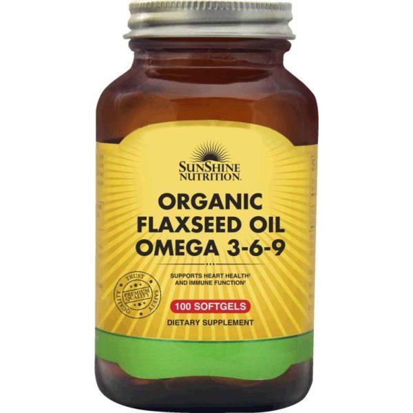 Sunshine Nutr Organic Flaxseed Oil Omega 3-6-9 Softgel