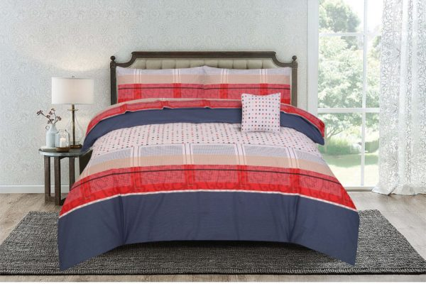 Kassino Comforter Queen 4pcs Set Ero Navy Red