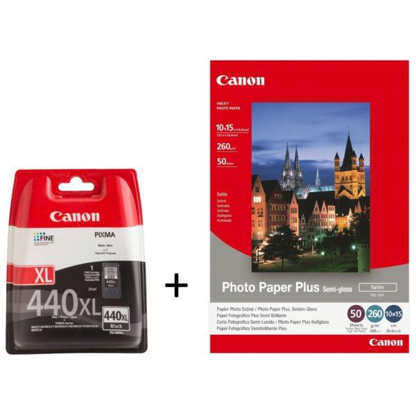 Canon PG440XL Black Ink Cartridge+SG 201 PhotoPaper Semi Gloss(4X6 50Sh)