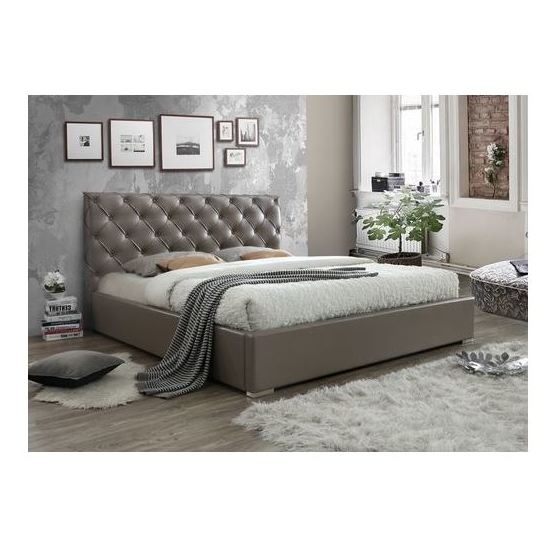 MooBoo Lauren 180cm PU Taupe King Size Bed