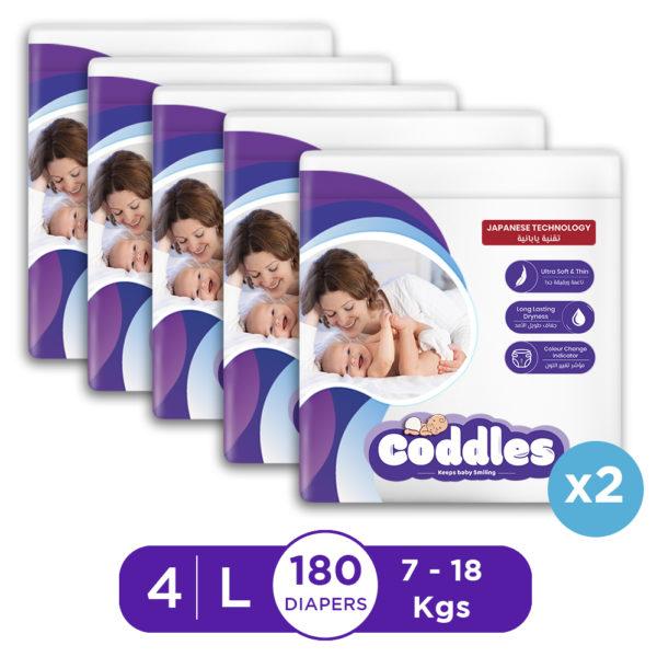 Coddles Baby Diapers 180pcs 7-18kg 7-36Months Size 4