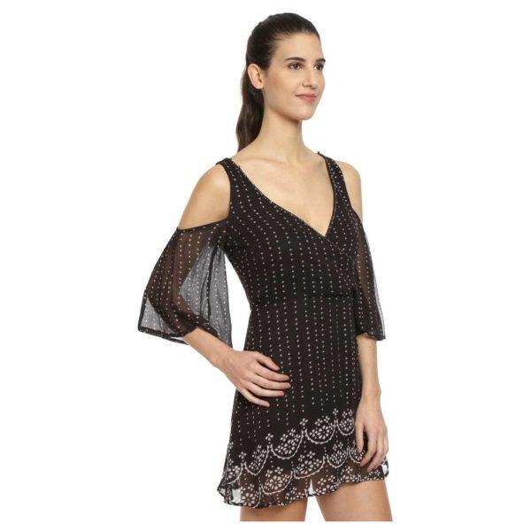 Love Gen Bandhani Print Dress Black Size XS