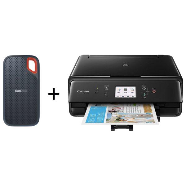 SanDisk Extreme Portable SSD USB-C 1TB + Canon PIXMA TS6140 WRS Printer