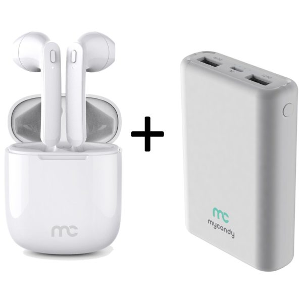 Mycandy TWS200 True Wireless Earbuds White + Mycandy PB10K Power Bank 10000mAh White