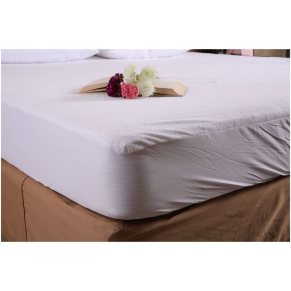 Terry CottonWater Proof Mattress Protector White 120X200X30cm