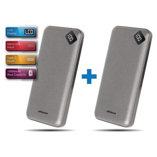 Eklasse LCD Power Bank 10000mAh 2.1A Grey Bundle Offer