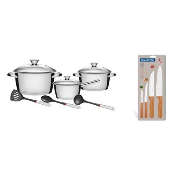 Tramontina 9pcs Cookware Set Silver + 4pcs Knives Set