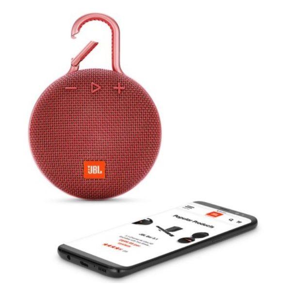 JBL CLIP3 Portable Bluetooth Speaker Fiesta Red