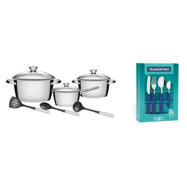 Tramontina 9pcs Cookware Set Silver + 24 Tableware Set