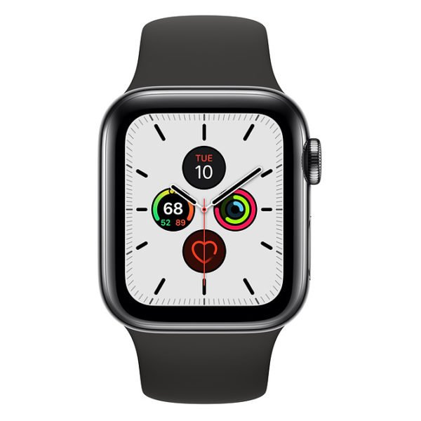 Apple Watch Series 5 GPS + Cellular 40mm Space Black Stainless Steel Case with Black Sport Band