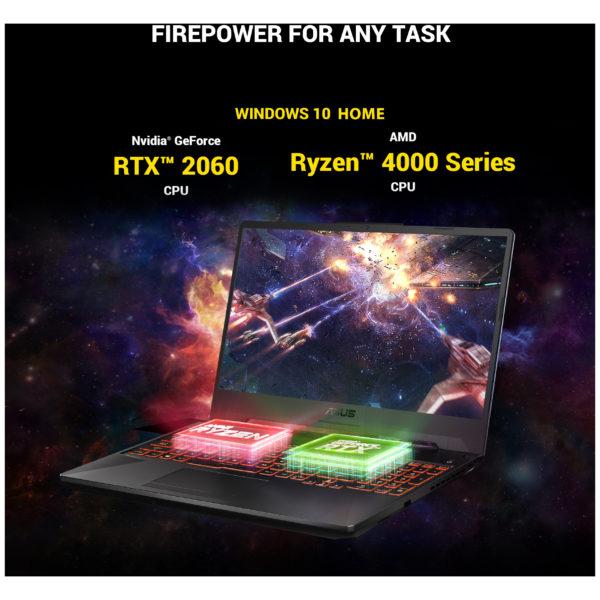 Asus TUF Gaming A15 FA506IV-AL031T Laptop - Ryzen 7 2.9GHz 16GB 1TB 6GB Win10 15.6inch FHD Grey Metal English/Arabic Keyboard
