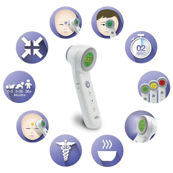 Braun 3 IN 1 No Touch Forehead Thermometer White BNT400