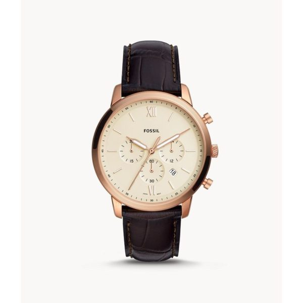 Fossil Neutra Chronograph Brown Croco Leather Watch FS5558