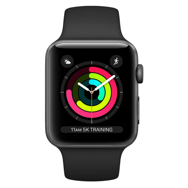 Apple Watch Series 3 GPS - 38mm Space Grey Aluminium Case with Black Sport Band