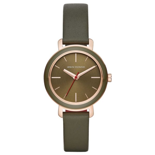 Armani Exchange AX5701 Green Leather Analog Women Watch