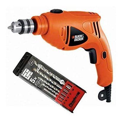 Black & Decker HD4810BIT-B5 480W 10mm Single Speed Hammer Drill (5Bit Set)