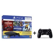 Sony PS4 Slim Gaming Console 500GB Black + Dual Shock 4 Controller + Spiderman Game + Uncharted The Nathan Drake Collection Game + Ratchet & Clank Game + 3 Months PlayStation Plus Membership