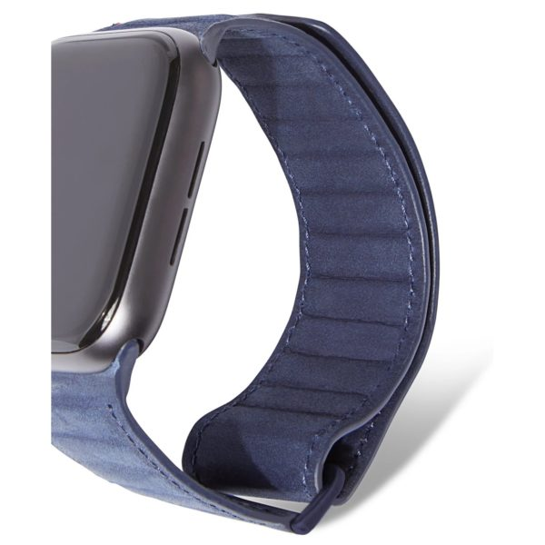 Decoded 42-44mm Leather Magnetic Traction Strap For Apple Watch Blue