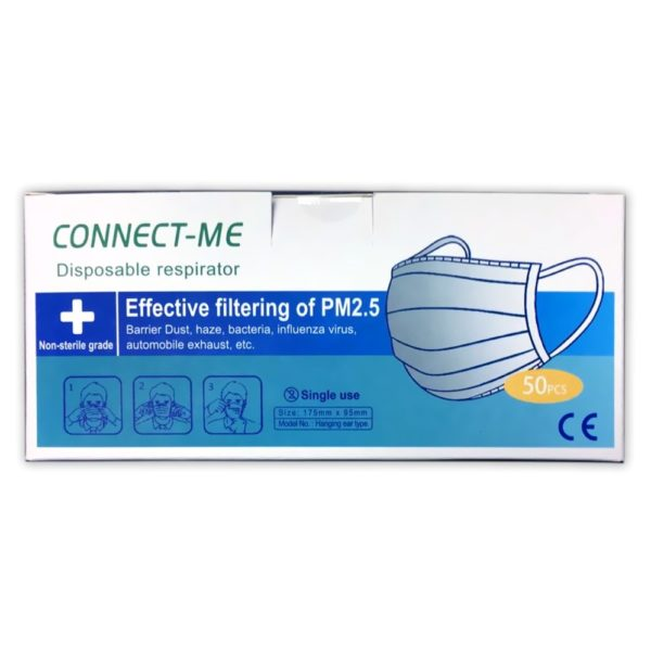 Connect-Me Disposable Respirator 3ply Face Masks 50pcs Box