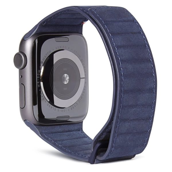 Decoded 38-40mm Leather Magnetic Traction Strap For Apple Watch Blue