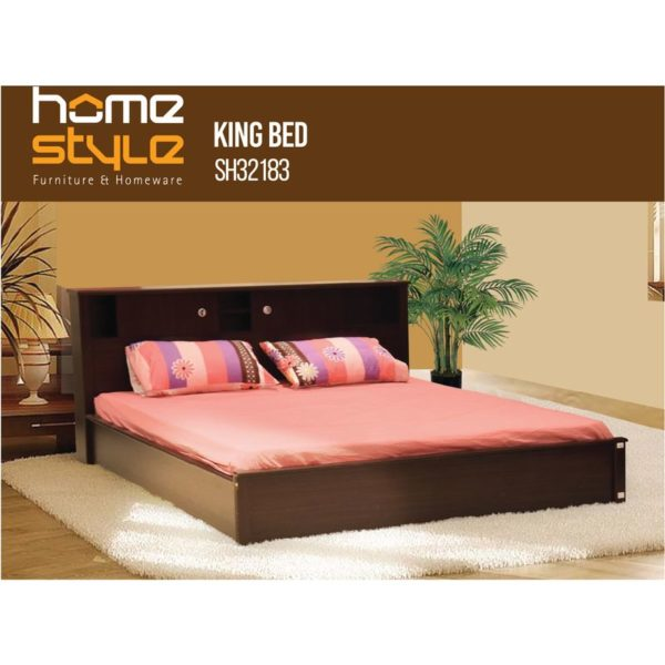 Home Style SH32183+SH35827 King Bed + Platinum King Bedsheet Set
