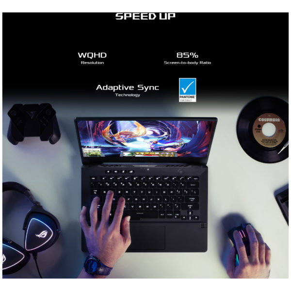 Asus ROG Zephyrus G14 GA401IV-HA194T Gaming Laptop - Ryzen 9 3GHz 16GB 1TB 6GB Win10 14inch QHD Eclipse Grey English/Arabic Keyboard