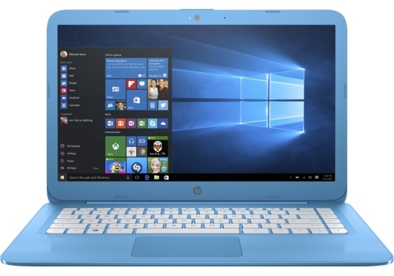 HP Stream 14-AX000NE Laptop - Celeron 1.6GHz 2GB 32GB Shared Win10 14inch HD Aqua Blue