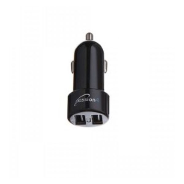 Passion4 Car Charger With 2 USB + Micro USB Cable 1M - PASS1003