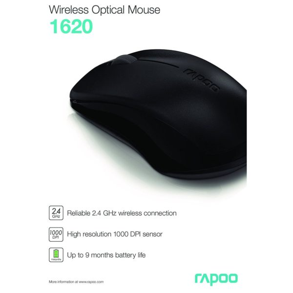 Rapoo 2.4Ghz Wireless Mouse Black 1620